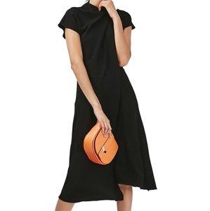 Topshop origami drape neck midi dress black